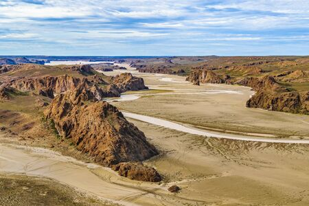 Aerial view of unique arid rocky landscape environment located in the argentinian patagonian in Santa Cruz province, Argentina