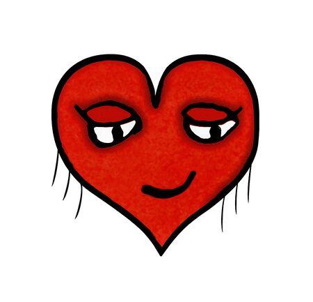 Heart shaped cartoon illustration character with pleased expression isolated against white background Stock Photo