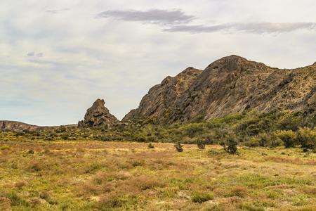 Rocky hills at valley patagonian landscape scene in Santa Cruz  province, Argentina