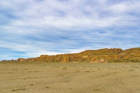 Arid environment landscape scene at patagonian valley located in Santa Cruz province, Argentina