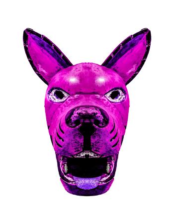 Tribal wood dog mask with diabolic expression isolated in white background Stock Photo