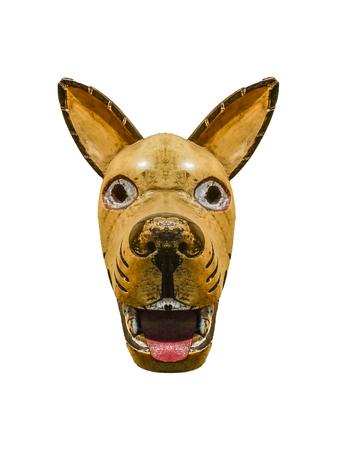 hellish: Tribal wood dog mask isolated in white background