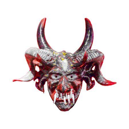 hellish: Ecuadorian indian scary tribal wood mask isolated in white background