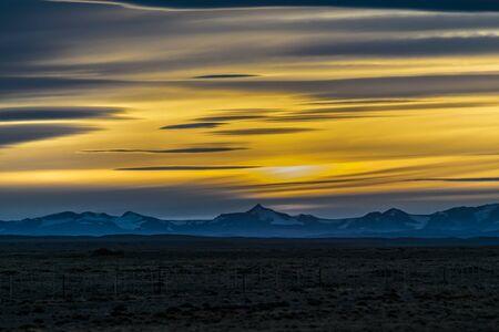 Patagonian sunset landscape scene at Santa Cruz province, Argentina