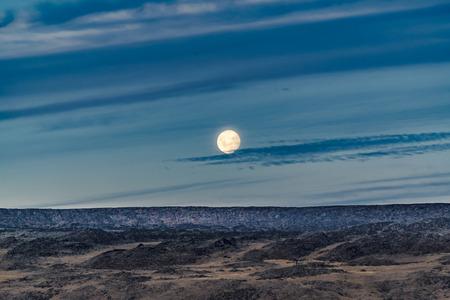 Patagonian moonscape landscape scene at Santa Cruz province, Argentina