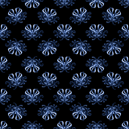 Demons tribal mask motif seamless pattern design in blue and black colors