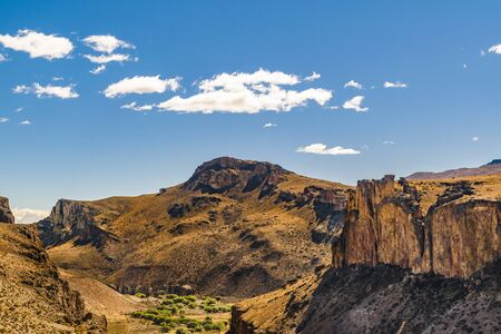 Patagonia landscape scenen with big rocky mountains as main subject in Santa Cruz province, Argentina