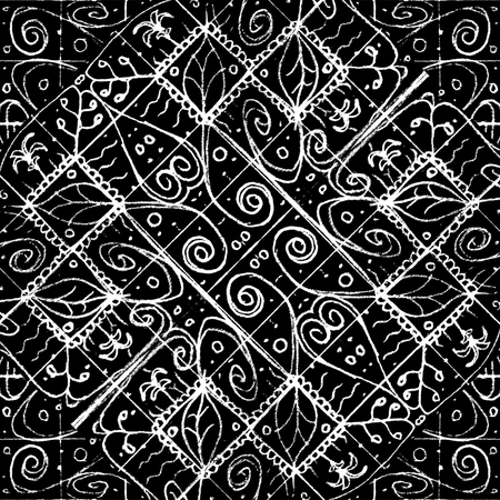 Mixed media technique ethnic luxury ornate baroque seamless mosaic pattern design in black and white colors Banco de Imagens