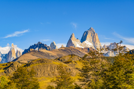 Beautiful patagonian andes range landscape with famous Fitz Roy mountain at El Chalten town, Argentina Stock Photo
