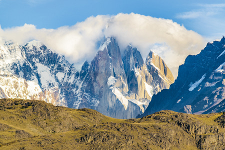 Beautiful patagonian andes range landscape with famous Cerro Torre mountain at El Chalten town, Argentina Stock Photo
