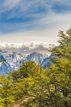 Patagonia landscape scene with snowy andes range mountains as main subject, El Chalten, Argentina Stock Photo