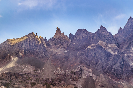 Low angle view of big pointy rocky mountain located at El Chalten, Patagonia, Argentina Stock Photo