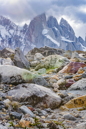 cerro chalten: Patagonia landscape scene at laguna torre with snowy andes mountains as main subject, El Chalten, Argentina Stock Photo