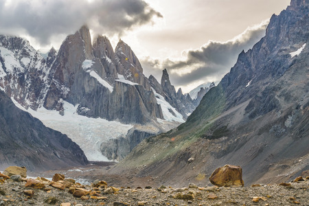 Patagonia landscape scene at laguna torre with snowy andes mountains as main subject, El Chalten, Argentina Archivio Fotografico