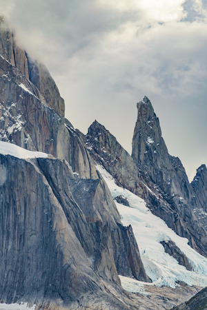 Patagonia landscape scene at laguna torre with snowy andes mountains as main subject, El Chalten, Argentina Stock Photo