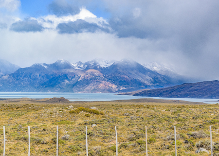 Argentinian patagonian landscape with Viedma lake and rocky mountains as main subject