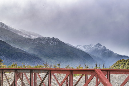 electrico: Iron bridge crossing lago electrico, a big lake located at argentinian patagonian side, El Chalten