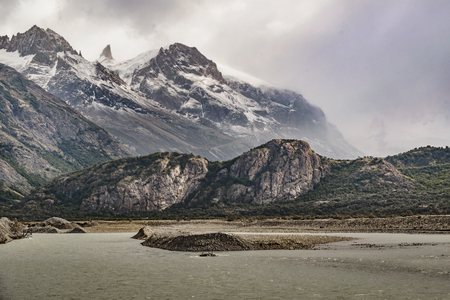 electrico: Patagonia landscape scene with big snowy andes mountains as main subject, El Chalten, Argentina Stock Photo