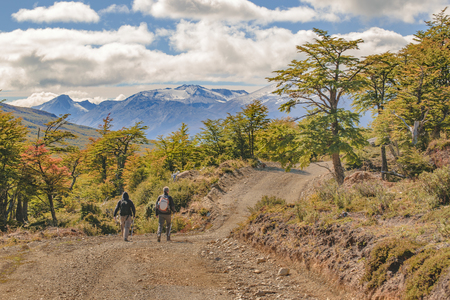 otras: Two hiker men walking at grave road at patagonia landscape, Aisen - Chile