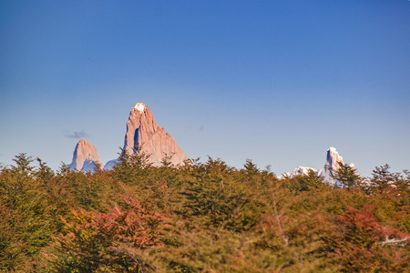 Patagonia landscape scene distant view andes range with famous Fitz Roy mountain as main subject, Aisen - Chile