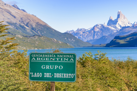 roy: SANTA CRUZ, ARGENTINA - MARCH - 2016 - Argentinian patagonian landscape scene with lake and famous Fitz Roy andes mountain as main subject Stock Photo