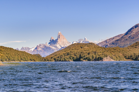 Argentinian patagonian landscape scene with lake and famous Fitz Roy andes mountain as main subject Stock Photo