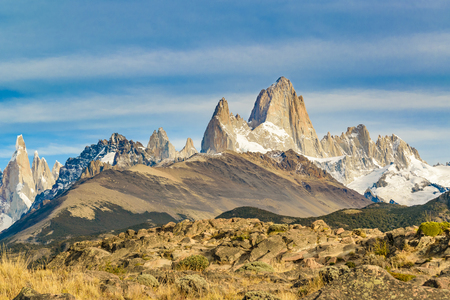 Beautiful patagonian andes range landscape with famous Fitz Roy mountain at Santa Cruz province