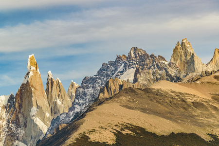 Beautiful patagonian andes range landscape with famous Cerro Torre mountain at Santa Cruz province - Argentina Stock Photo