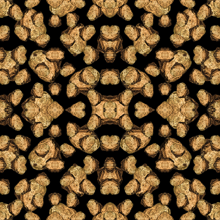 Digital photo collage and manipulation technique Rock motif seamless geometric pattern mosaic design in brown and black colors