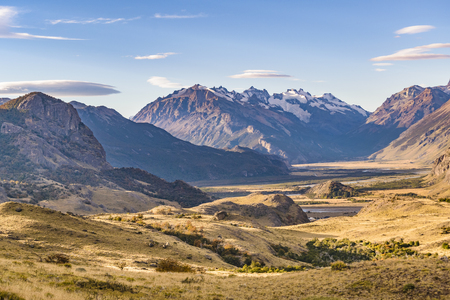 Beautiful patagonian andes landscape scene at El Chalten town, Argentina Stock Photo