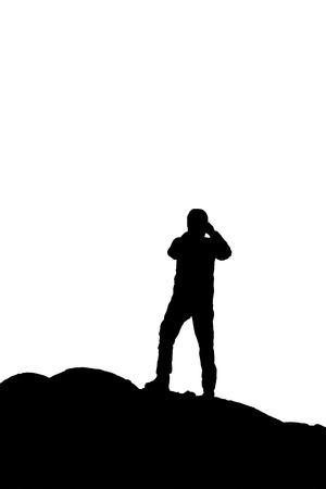 Terug oog man het nemen van een foto silhouet illustratie
