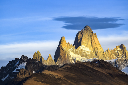 Beautiful patagonian andes range landscape scene with famous Fitz Roy mountain at El Chalten town, Argentina