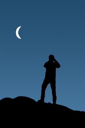 Grafische Darstellung Rückansicht des erwachsenen Menschen fotografieren von Mondlandschaft Standard-Bild - 78956003