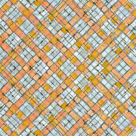 Digital abstract geometric seamless pattern background design in orange and white colors