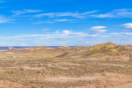 Arid patagonian environment at petrified forest national park, Santa Cruz province, Argentina