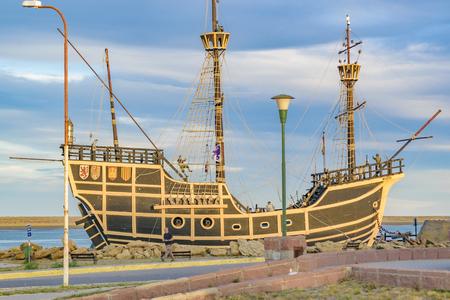 SAN JULIAN, ARGENTINA, MARCH - 2016 - Nao Victoria replica ship monument museum located at Puerto San Julian, Argentina Editorial
