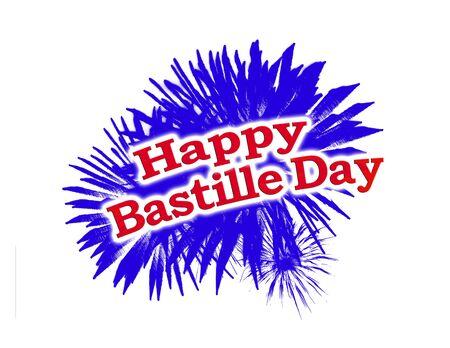 Happy Bastille Day Theme Graphic Logo isolated on white background