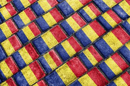 nationalism: Urban grunge style romania national flag motif pattern