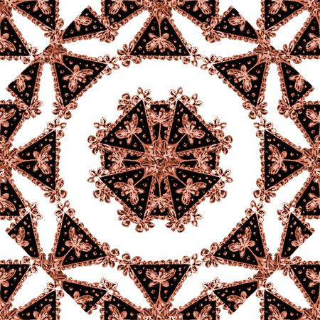Mixed media technique ornate seamless pattern artwork design in red and white colors Stock Photo
