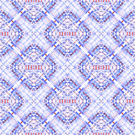 Digital abstract modern geometric check seamless pattern background design in bright blue and white colors