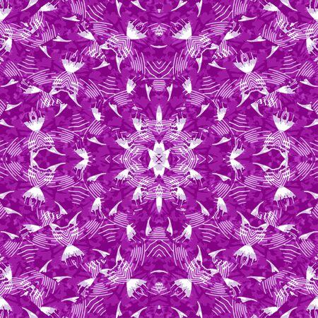 Digital collage technique ornate seamless pattern design in purple colors