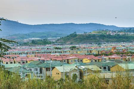 Aerial view scene of outskirt condominium houses . Stock Photo