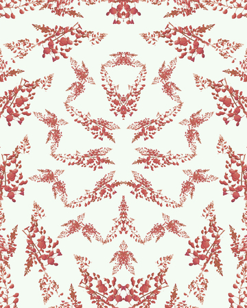 Digital photo collage and manipulation technique nature floral collage motif seamless pattern design in red and white tones