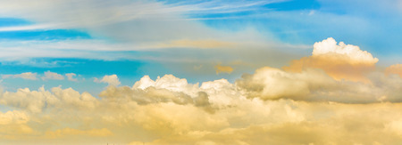 Clouds and sky background photo in widescreen panoramic format