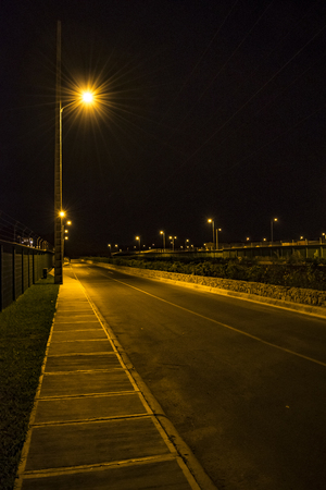 Night scene at guayaquil outskirt condominium houses, Ecuador Stock Photo