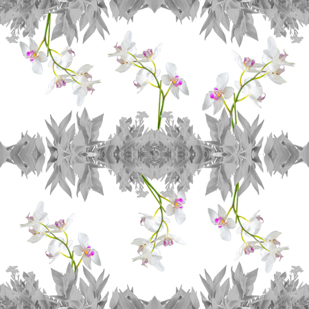 Digital photo collage and manipulation technique nature floral collage motif seamless pattern mosaic in silver tones Stock Photo
