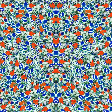 Digital collage technique exotic stylizez nature ornate seamless pattern design in vivid mixed colors