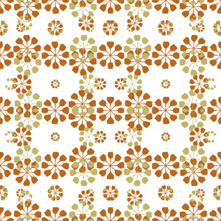 Graphic abstract geometric seamless pattern design in warm colors against white