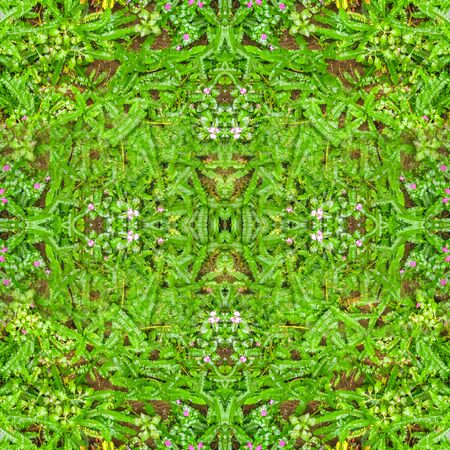 Digital collage technique nature motif ornate seamless pattern design in green colors