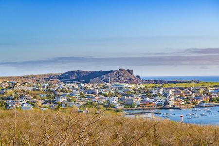 Aerial view of San Cristobal city, Galapagos, Ecuador